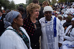 Minister of Immigrant Absorption, Ms. Sofa Landver, poses with women for photo during the Jewish Ethiopian community celebration of the Sigd Holiday at the Sherover Promenade overlooking the ...