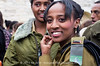 Female, Ethiopian, IDF officer, celebrates the Sigd Holiday, symbolizing their yearning for Jerusalem, at the Sherover Promenade overlooking the Temple Mount. Jerusalem, Israel. 24th November 2011.