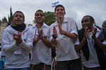 Young men dance in a men-only dance circle celebrating the Sigd Holiday, symbolizing their yearning for Jerusalem, at the Sherover Promenade overlooking the Temple Mount. Jerusalem, Israel.  ...