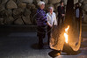 Anna Suchecka (L) and Hedva Gil (R) light the Eternal Flame in the Yad Vashem Hall of Remembrance in a memorial ceremony honoring the victims of the Holocaust. Jerusalem, Israel. 28th November 2011.
