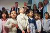 Speaker of the Knesset Reuven Rubi Rivlin (R) and Minister of Education Gideon Saar (L) interact with kindergarten children following inauguration ceremony of a new visitor center in the Knesset, promoting public education and involvement in democracy. Jerusalem, Israel. 11th December 2011.