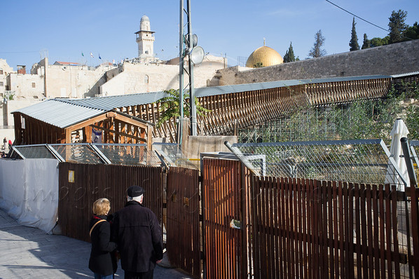 Tourists are unable to visit the Temple mount as City Engineer orders immediate closure of Mugrabi Ramp due to public safety threat, totally blocking access to all non-Muslims to Temple Mount and Al-Aqsa. Jerusalem, Israel. 13th December 2011.