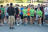Participants of Chadron State College's Eagle Run-Walk listen to instructions from Chris Green, interim Nelson Physical Activity Center coordinator, before the start of the annual race Saturday, Oct. 1. The annual race attracted 97 entrants. (Photo by Justin Haag)