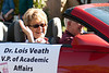Dr. Lois Veath, Chadron State College vice president for academic affairs, and her husband Don Podobnik make their way along the CSC homecoming parade Saturday, Oct. 1. (Photo by Justin Haag)