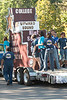 The Upward Bound float displays the steps to higher education as it makes its way along the Chadron State College homecoming parade route Saturday, Oct. 1. The float won first place in the originality category for campus entries. (Photo by Justin Haag)