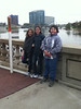 Abby Hyer, Claire Margetts and Maggie Hughes stand near the Scioto River during their trip to Columbus, Ohio. (Courtesy photo)