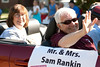 Dr. Samuel Rankin, retired Chadron State College president, and his wife Sharon ride along the CSC homecoming parade route Saturday, Oct. 1. (Photo by Justin Haag)