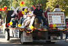 The Chi Omega float makes its way down the Chadron State College homecoming parade route Saturday, Oct. 1. The float, which featured women attending the sorority's reunion, earned first place in the theme category for off-campus entries. (Photo by Justin Haag)