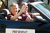 Dr. Janie Park, Chadron State College president, and her husband Tom travel the CSC homecoming parade route Saturday, Oct. 1. (Photo by Justin Haag)