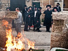 Hundreds of ultra-Orthodox Haredim riot and set dumpsters ablaze in the neighborhood of Mea Shearim protesting arrest of six community members this morning for alleged tax offenses worth millions. Jerusalem, Israel. 15th January 2012.