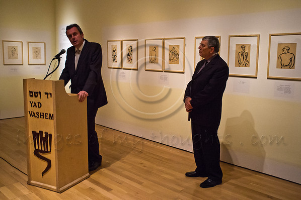 """Guest of honor, Mr. Tomas Pojar, Czech Republic Ambassador to Israel (L), addresses the audience at the official opening of """"Last Portrait: Painting for Posterity"""" as exhibition opens at Yad Vashem. Jerusalem, Israel. 23rd January 2012."""