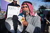 Sheik Sayach Al-Turi, of the unrecognized Bedouin village of Al-Arakib in the Negev Desert, protests against KKL and its intention to forcefully evict Al-Arakib residents from, what they claim is their land. Jerusalem, Israel. 29th January 2012.
