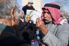 Sheik Sayach Al-Turi, of the Bedouin village of Al-Arakib, pleads his case to a bystander at a protest against KKL and its intention to forcefully evict Al-Arakib residents from what they claim is their land. Jerusalem, Israel. 29th January 2012.