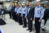 Minister of Internal Security Yitzhak Aharonovitch (2nd from R) and Police Commissioner Yohanan Danino (3rd from R) sing Israeli national anthem closing a festive ceremony awarding ranks to senior officers. Jerusalem, Israel. 30th January 2012.