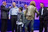 Minister of Internal Security Yitzhak Aharonovitch and Police Commissioner Yohanan Danino award rank of Chief Superintendent to Yehonatan Zeidel at ceremony marking roll out of 2012 as 'Turning Point Year'. Jerusalem, Israel. 30th January 2012.