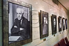 A row of photo portraits of past prime ministers decorates the halls of the Knesset as it opens its doors to the public for an Open House birthday celebration. First photo portrays legendary David Ben-Gurion. Jerusalem, Israel. 8th February 2012.