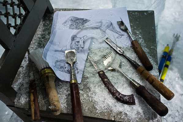Sketches and tools used by Chinese ice craftsmen to create a lion, the symbol of Jerusalem, for Jerusalem's first Int'l Ice Festival set to open March 6th at the Old Train Site. Jerusalem, Israel. 13th February 2012.