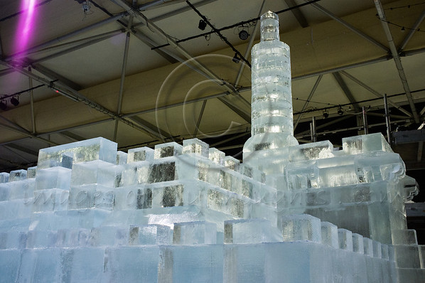 The King David Citadel sculptured in ice by Chinese craftsmen awaits Jerusalem's first Int'l Ice Festival set to open March 6th at the Old Train Site. Jerusalem, Israel. 13th February 2012.