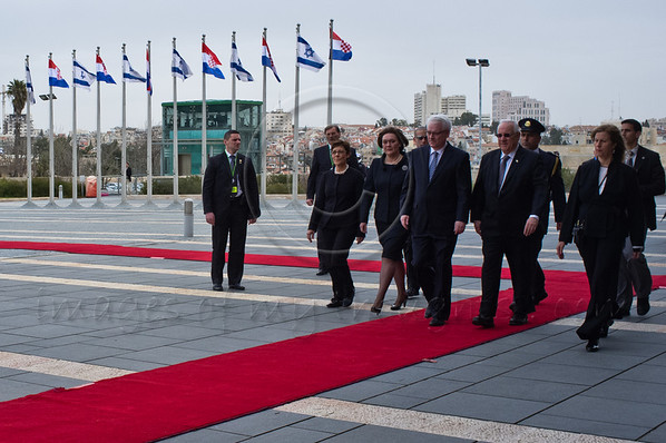 Prof. Ivo Josipovic, President of the Republic of Croatia, is lead by House Speaker Reuven Rivlin, as a guest of the Knesset. A reception ceremony was followed by an invitation to address the Knesset Plenum. Jerusalem, Israel. 15th February 2012.
