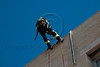 Firefighters rappel from school rooftop in rescue operations following an earthquake in a nationwide exercise simulation at the Bet-Hakerem Elementary School. Jerusalem, Israel. 20th February 2012.