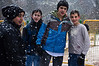 Teenagers enjoy a first snowfall in Jerusalem after many years. Heavy snowfall continues this morning disrupting schools and public transportation. Jerusalem, Israel. 02-Mar-2012.