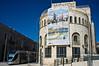 A huge banner advertises the upcoming second Jerusalem International Marathon on municipal building. Jerusalem, Israel. 6-Mar-2012.