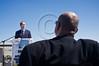 Jerusalem Mayor Nir Barkat (L) leads a press conference regarding the upcoming second Jerusalem International Marathon as Itzchak Lari (R), Deputy GM of Toto Winner, a major marathon sponsor, listens in. Jerusalem, Israel. 6-Mar-2012.