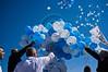 Jerusalem Mayor Nir Barkat, sponsors and senior municipal officials release helium filled balloons to the sky following a press conference regarding the upcoming second Jerusalem International Marathon. Jerusalem, Israel. 6-Mar-2012.