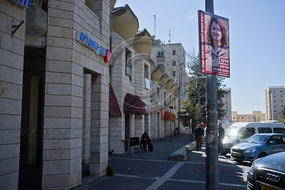 A poster of Irena, a student, is displayed in the French Hill on International Women's Day defying a citywide wave of gender segregation in the public sphere imposed by religious pressure. Jerusalem, Israel. 8-Mar-2012.