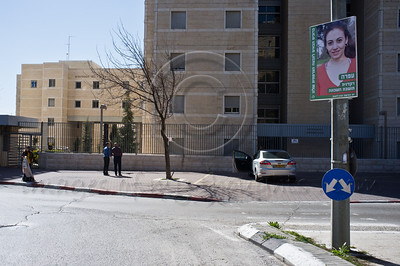 A poster of Ofra, a dancer, is displayed in the French Hill on International Women's Day defying a citywide wave of gender segregation in the public sphere imposed by religious pressure. Jerusalem, Israel. 8-Mar-2012.