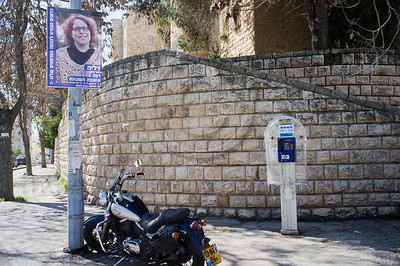 A poster of Dalya, a rabbi, is displayed in the French Hill on International Women's Day defying a citywide wave of gender segregation in the public sphere imposed by religious pressure. Jerusalem, Israel. 8-Mar-2012.