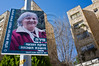 A poster of Mira, a veteran resident, is displayed in the French Hill on International Women's Day defying a citywide wave of gender segregation in the public sphere imposed by religious pressure. Jerusalem, Israel. 8-Mar-2012.
