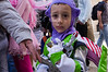 A young boy wears an alien warrior costume on Purim, celebrated as a happy, carnival-like holiday, commemorating the events described in the Book of Esther and the foiled plot of Haman, Grand Vizier of the Persian Empire, to massacre the Jews. Jerusalem, Israel. 8-Mar-2012.