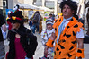 Adults wearing costumes on Purim, celebrated as a happy, carnival-like holiday, commemorating the events described in the Book of Esther and the foiled plot of Haman, Grand Vizier of the Persian Empire, to massacre the Jews. Jerusalem, Israel. 8-Mar-2012.