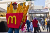 A young boy wears a McDonald's French Fries costume on Purim, celebrated as a happy, carnival-like holiday, commemorating the events described in the Book of Esther. Jerusalem, Israel. 8-Mar-2012.