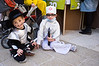 Two young boys wearing costumes on Purim, celebrated as a happy, carnival-like holiday, commemorating the events described in the Book of Esther and the foiled plot of Haman, Grand Vizier of the Persian Empire, to massacre the Jews. Jerusalem, Israel. 8-Mar-2012.