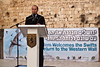 Jerusalem Mayor Nir Barkat addresses guests at a welcoming ceremony for thousands of swifts returning from South Africa to nest in the Western Wall as spring and breeding season arrive. Jerusalem, Israel. 12-Mar-2012.