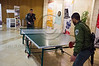 Border policemen pass time playing ping pong at the Jerusalem Marathon Expo that deals with sports, fitness, health and beauty and will run for three days leading up to the marathon this Friday (March 16th). Jerusalem, Israel. 13-Mar-2012.