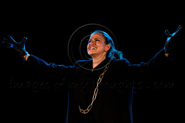 """Amateur actress Merav Lapidos portrays Shukra in a Boyar high school students' production of """"Hefetz"""" by play writer Hanoch Levin (1943-1999). Hefetz deals with relationships based on humiliation and degradation. Jerusalem, Israel. 14-Mar-2012."""