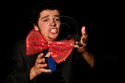 "Amateur actor Ron Paldi portrays Hefetz in a Boyar high school students' production ""Hefetz"" by play writer Hanoch Levin (1943-1999). Hefetz deals with relationships based on humiliation and degradation. Jerusalem, Israel. 14-Mar-2012."
