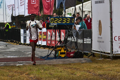 John Kipkorir Mutai, of Kenya finishes in third place in Jerusalem's second International 42Km Full Marathon with a time of 02:23:31. Jerusalem, Israel. 16-Mar-2012.
