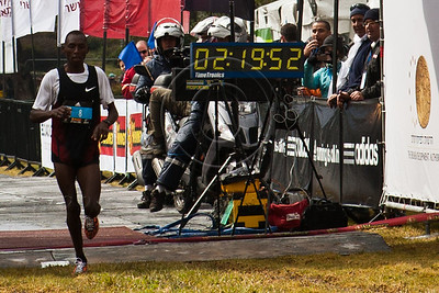 David Cherono Toniok, of Kenya finishes first in Jerusalem's second International 42Km Full Marathon with a time of 02:19:52. Jerusalem, Israel. 16-Mar-2012.
