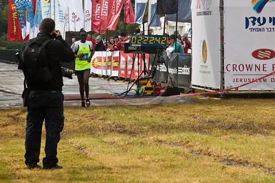 Gudeta Gemechu Biratu, of Ethiopia finishes in second place in Jerusalem's second International 42Km Full Marathon with a time of 02:22:42. Jerusalem, Israel. 16-Mar-2012.
