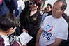 Mayor Nir Barkat is greeted by boys of Tsur Baher Elementary School for Boys during a visit to school in Arab neighborhood on 'Good Deeds Day' as Municipality participates in a national project that encourages work for the community. Jerusalem, Israel. 20-Mar-2012.