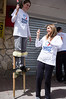 Businesswoman and philanthropist Shari Arison, owner of the Arison Group, takes part in painting old residential buildings on Stern Street in Kiryat Yovel on 'Good Deeds Day'. Jerusalem, Israel. 20-Mar-2012.