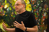 Second generation Rosenfeld Gallery owner, Tsaki Rosenfeld, introduces heavy oil painting on canvas works by artist Marik Lechner on 'Art Weekend', launching Tel Aviv's 'Art Year' with major art projects artistically flourishing the city. Tel-Aviv, Israel. 22-Mar-2012.
