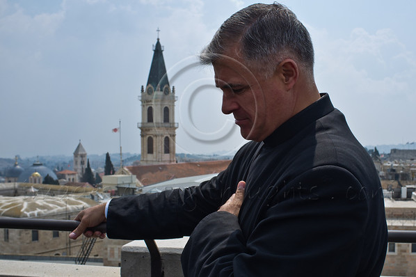 Father Juan Maria Solana LC, charge of the Holy See at Notre Dame in Jerusalem, pictured on the roof of Notre Dame overlooking the Old City, is the visionary behind an ambitious project erecting the Magdala Center in the Galilee. Jerusalem, Israel. 28-Mar-2012.