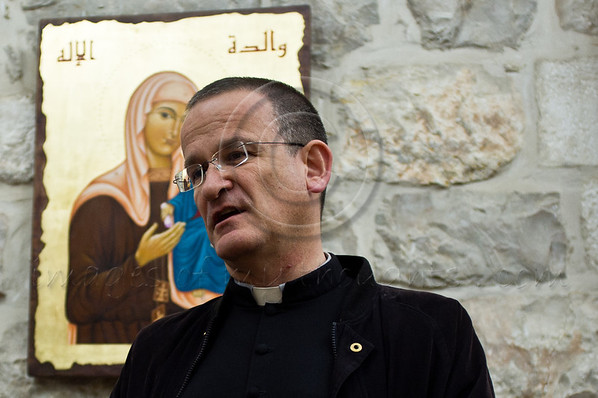 South African born, Reverend David M. Neuhaus SJ, serves as the Latin Patriarchal Vicar of the Hebrew-speaking Catholics in Israel.  Father Neuhaus, born Jewish to refugees of Nazi Germany, speaks of the Christian community in Israel. Jerusalem, Israel. 28-Mar-2012.
