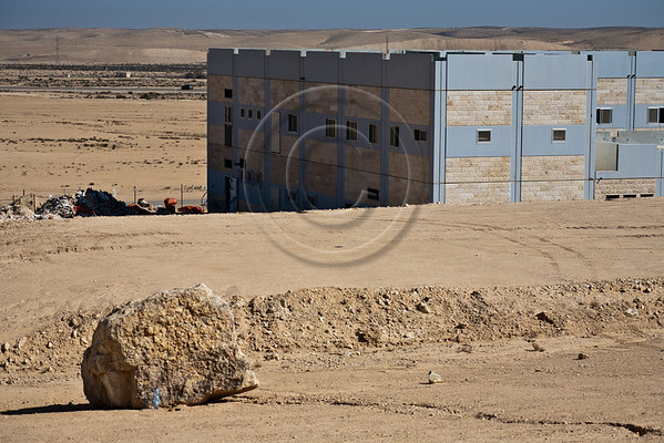 Groundwork and initial stages of construction have begun in area designated for 'Training Base City'. Completion is expected in 2014. Negev, Israel. 3-Apr-2012.