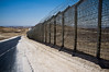 "New ""Hour Glass"" Israel-Egypt border fence is 5 meters high and made of galvanized steel bars and mesh and reinforced with technical surveillance equipment. When completed it will stretch from the southern Gaza Strip to Eilat. Negev, Israel. 3-Apr-2012."